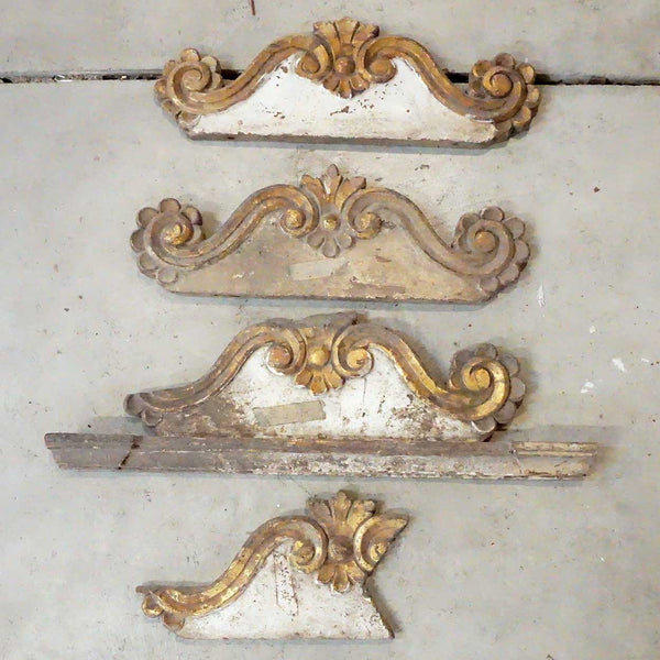 Three Indo-Portuguese Baroque Painted Teak Architectural Altar Crests and Parts
