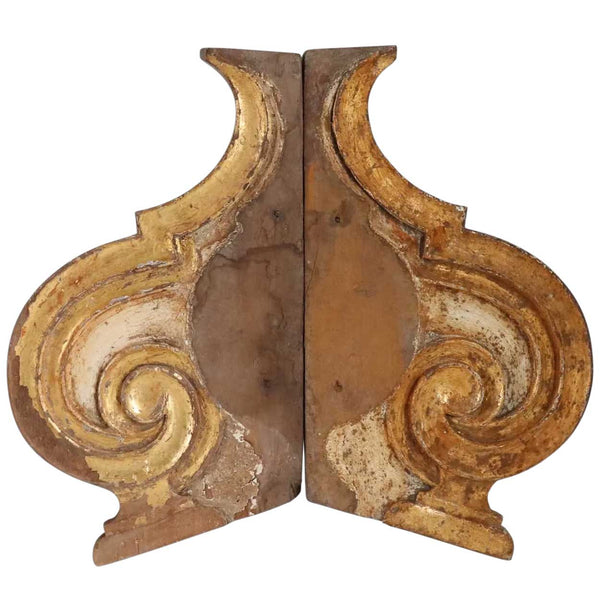 Pair Indo-Portuguese Baroque Painted and Gilt Teak Architectural Altar Bracket Panels