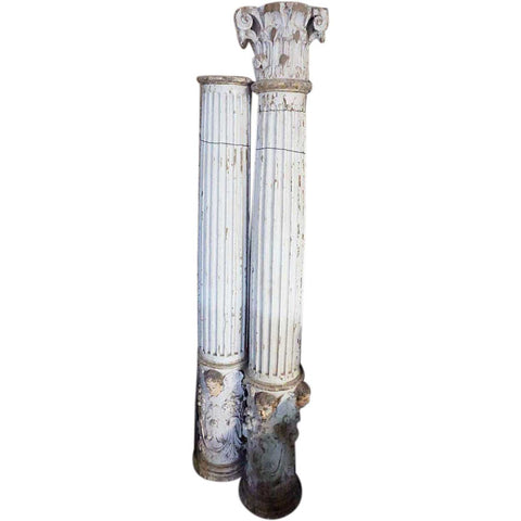 Pair of Indo-Portuguese Baroque Painted Teak Architectural Columns and Cornices