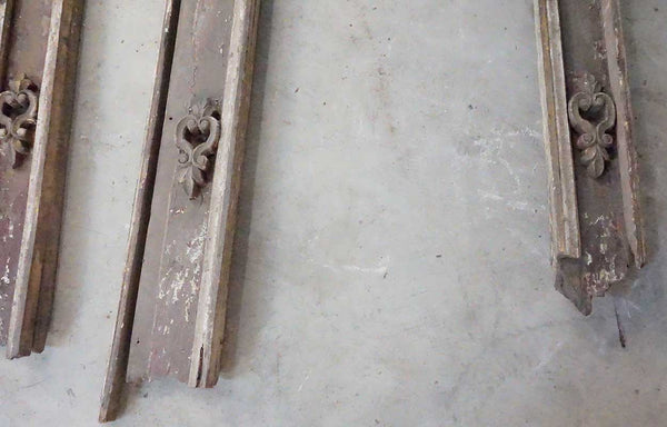Pair Indo-Portuguese Baroque Painted Teak Architectural Door Frames