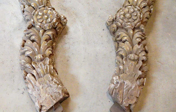 Large Pair Indo-Portuguese Baroque Painted Teak Angel Architectural Carvings