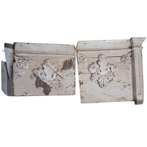 Two-Piece Indo-Portuguese Baroque Painted Teak Architectural Altar Panel
