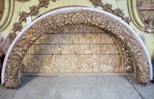 Indo-Portuguese Baroque Floral Carved Teak Architectural Arch