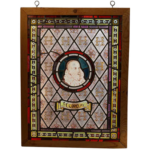 Small English Tudor Style Howard Family Stained, Hand Painted and Leaded Glass Portrait Window