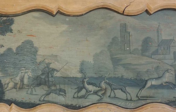 French Provincial Louis XV Blue Painted Pine Trumeau Boiserie Panel