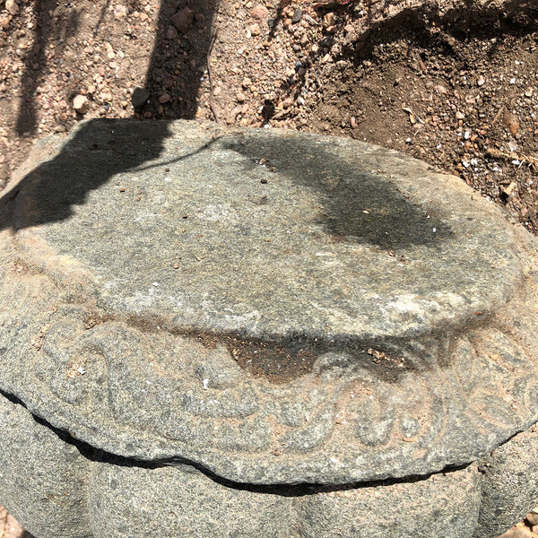 Chinese Qing Green Stone Round Pillar Base