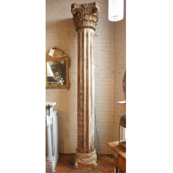 Anglo Indian Painted Teak and Limestone Base Building Column
