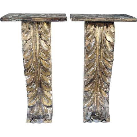 Small Pair of Portuguese Gilt Teak Architectural Scrolled Wall Bracket Shelves