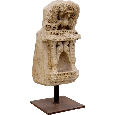 North Indian Mughal Limestone Architectural Shrine Niche with Birds on Metal Stand