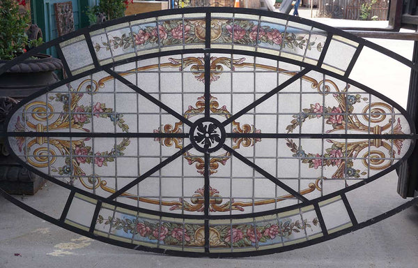 French Beaux-Arts Stained, Painted and Leaded Glass Oval Skylight Window