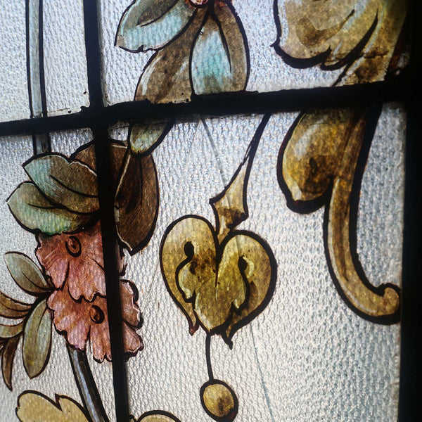 French Beaux-Arts Painted and Leaded Glass Rectangular Window