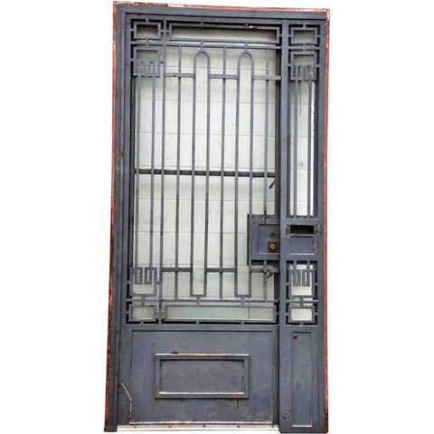 French Art Deco Painted Wrought Iron Single Entry Door and Sidelight