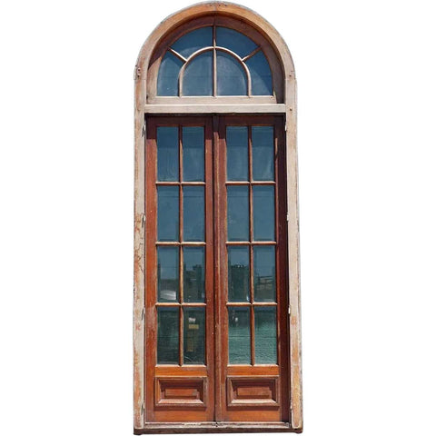 Large French Mahogany Beveled Glass Double Entry Door and Arched Transom