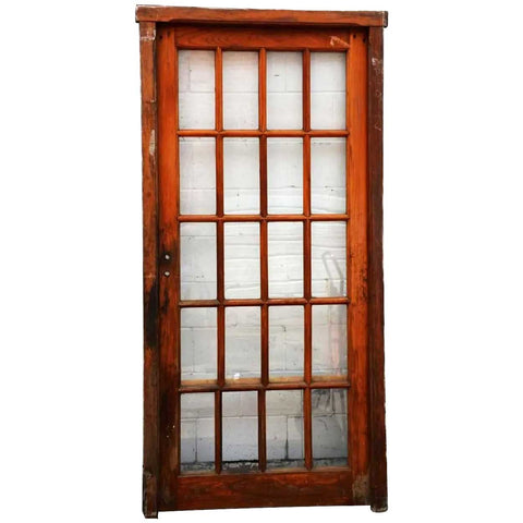Arts and Crafts Mahogany Glass Pane Interior Single Door and Frame