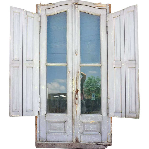 Tall Argentine Beaux-Arts Painted Mahogany and Glass Arched Double Shutter Window