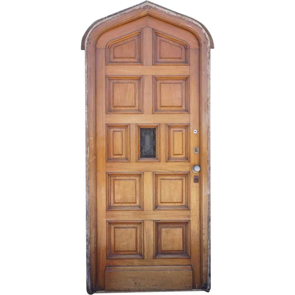 Argentine Mahogany Pointed Arch Single Paneled Entry Door