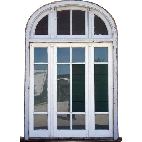 Large Argentine Painted Mahogany Three-Part Window with Arched Transom