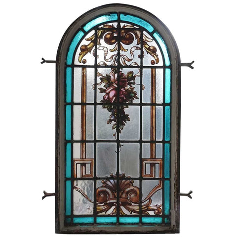Small Argentine Beaux Arts Painted and Leaded Glass Iron Framed Arched Window