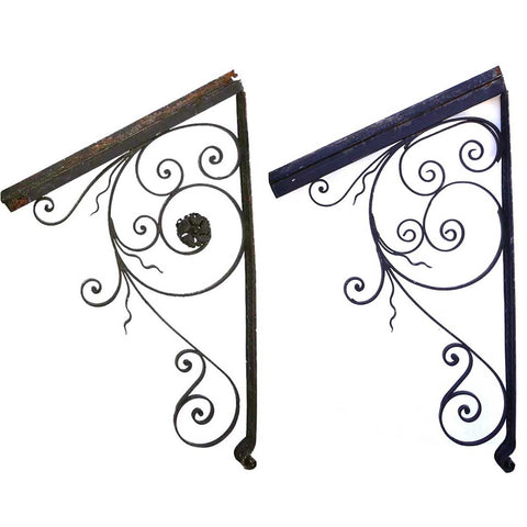 Pair of French Scrolled Wrought Iron Architectural Door Awning Brackets