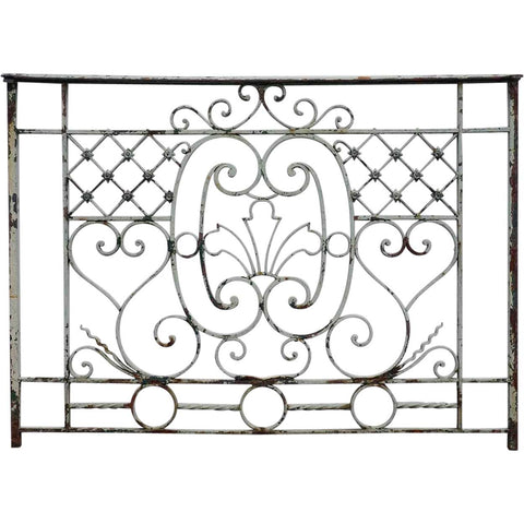 Small French Beaux-Arts Painted Wrought Iron Balcony Railing