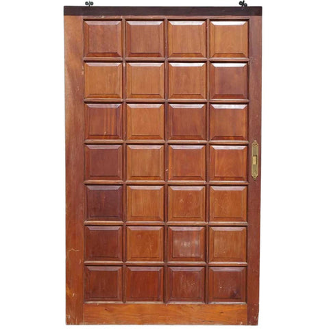 Vintage Argentine Solid Cedar Mahogany Paneled Single Sliding Door