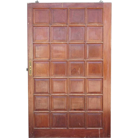 Vintage Argentine Solid Mahogany Paneled Single Sliding Door
