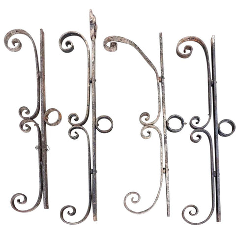 Four French Beaux Arts Wrought Iron Architectural Scrolls