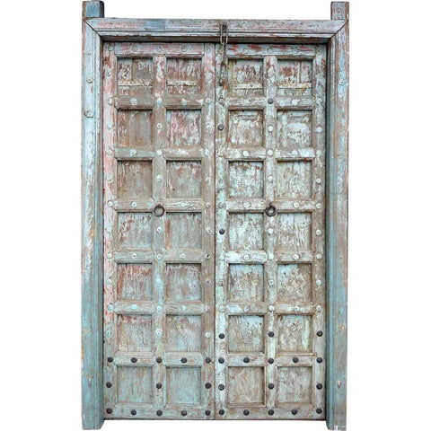 Indian Blue Painted Teak and Iron Mounted (Clavos) Double Door