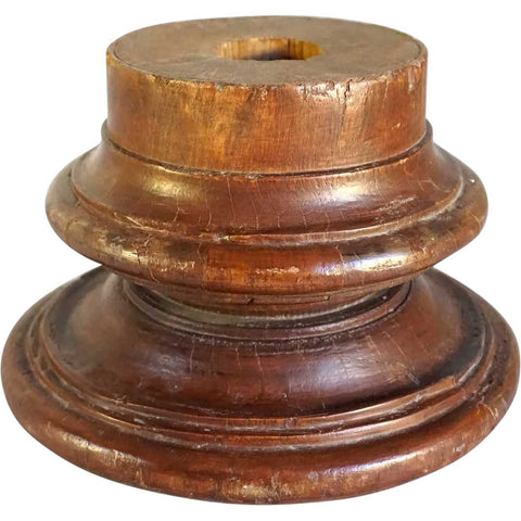 Small Anglo Indian Solid Teak Round Architectural Pillar Base