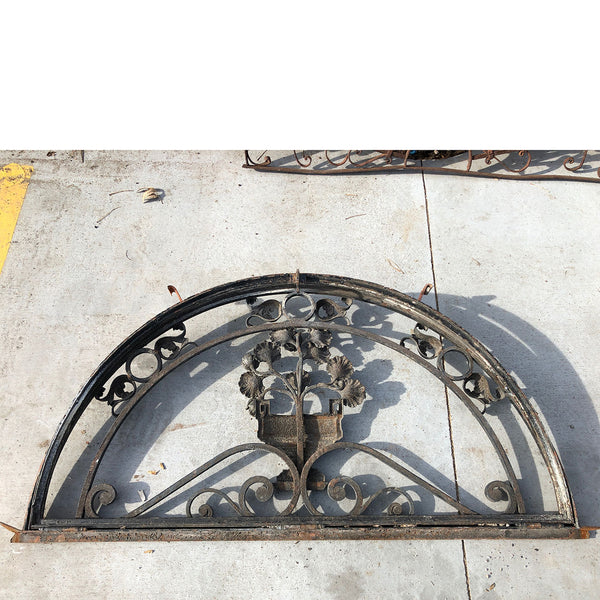 French Louis XVI Style Hand Forged Iron Arched Transom Window