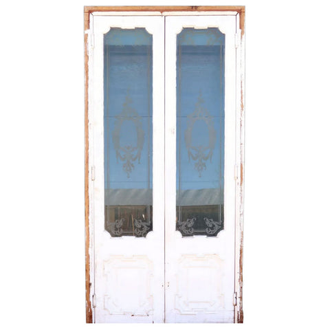French Rococo Revival Painted Mahogany Etched Glass Double Door