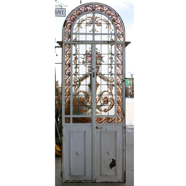 Argentine Beaux Arts Iron, Stained and Painted Glass Arched Conservatory Double Door