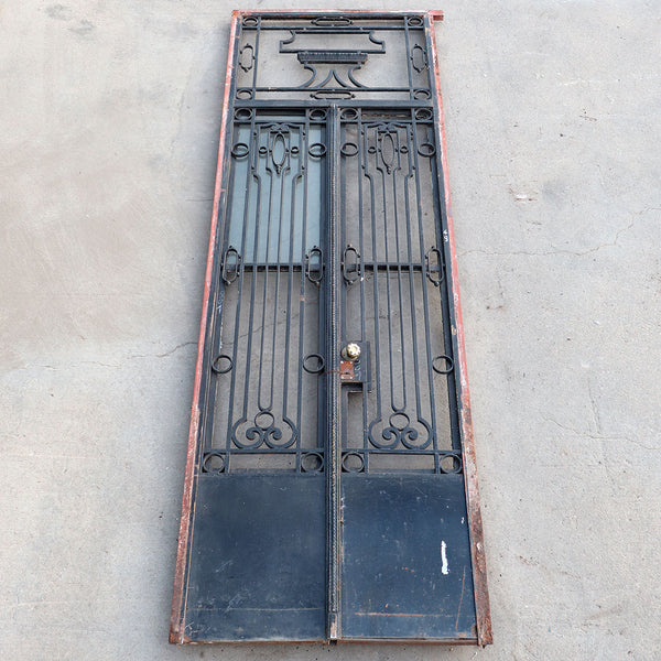 Argentine Beaux Arts Wrought Iron Double Door Entry and Transom