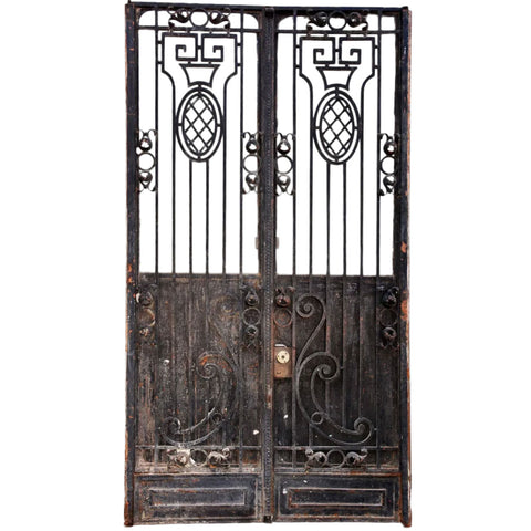 French Beaux Arts Painted Wrought Iron Double Door Entry Gate with Inner Door