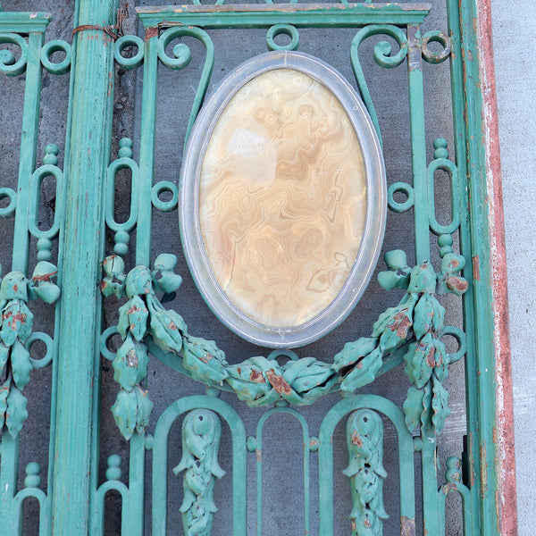 Grand French Louis XVI Revival Brass, Wrought Iron and Onyx Entry Doors
