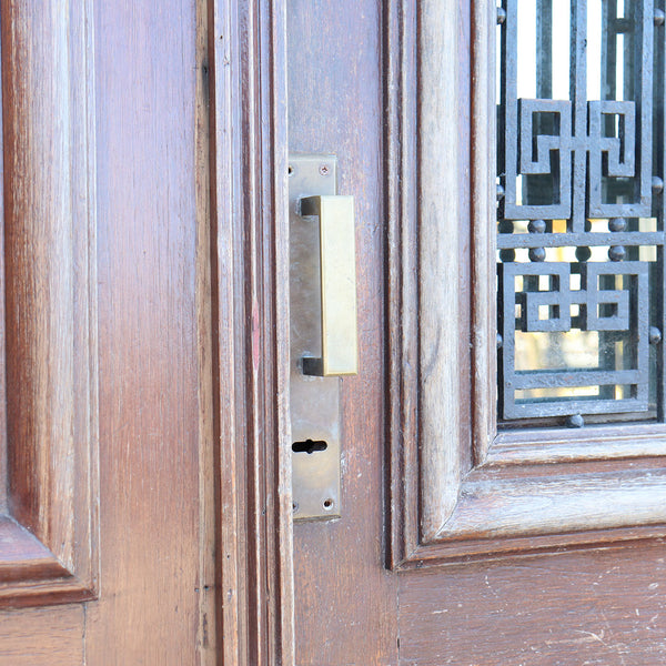 Fine Argentine Oak and Wrought Iron Double Door, Frame and Transom