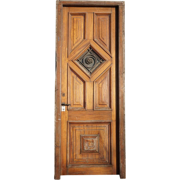 Argentine Cedro Mahogany and Wrought Iron Paneled Single Entry Door and Jamb