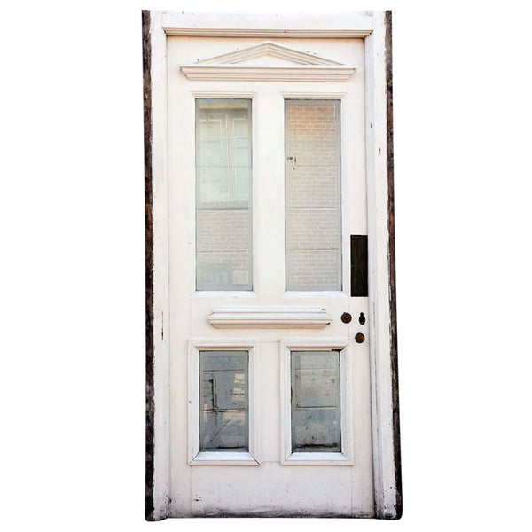 Painted Wood and Beveled Glass Single Door, Frame and Transom