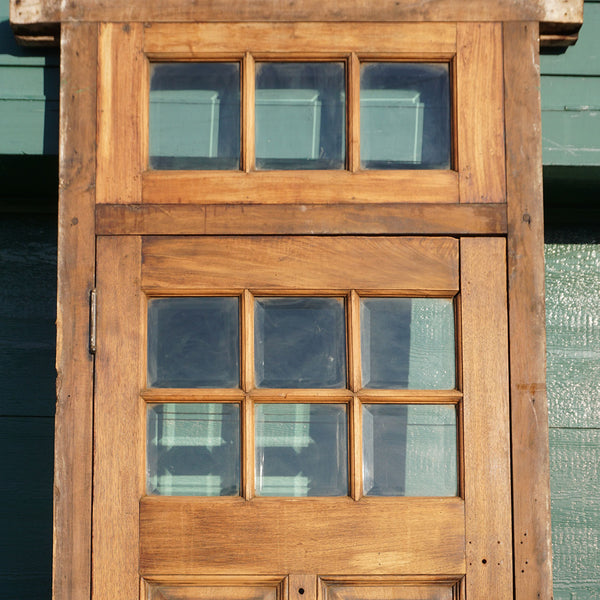 Arts and Crafts Style Walnut and Beveled Glass Single Door and Transom