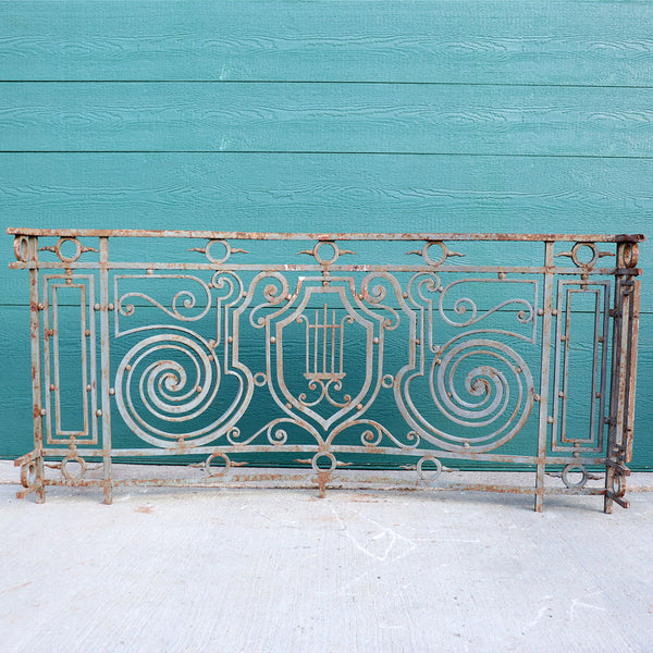 French Beaux Arts Wrought Iron Bowfront Balcony