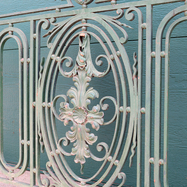 French Beaux Arts Green Painted Wrought Iron Balcony