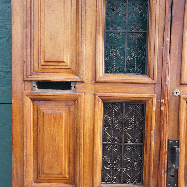 Spanish Colonial Style Paneled Walnut and Forged Iron Single Entry Door and Sidelights