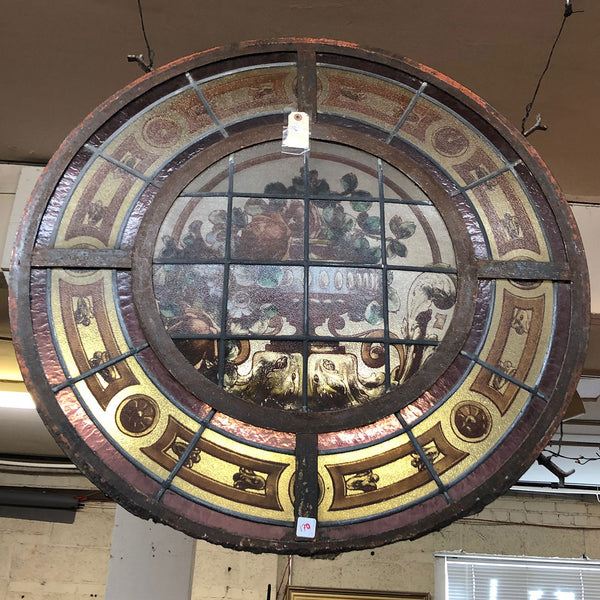 Argentine Beaux Arts Painted, Stained and Leaded Glass Iron Frame Round Cupola Window