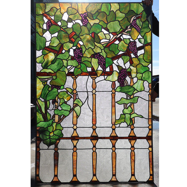 Large Vintage Stained and Leaded Glass Grapevine Wine Cellar Window