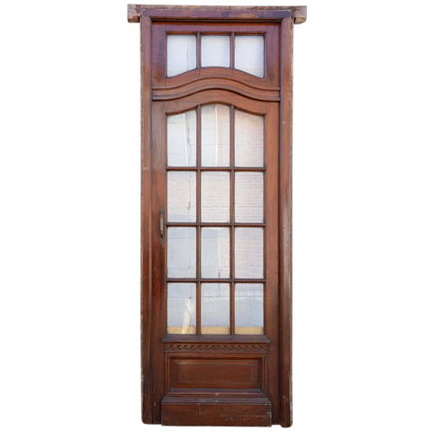 Argentine Louis XV Style Cedro Mahogany Single Interior Door with Transom and Frame
