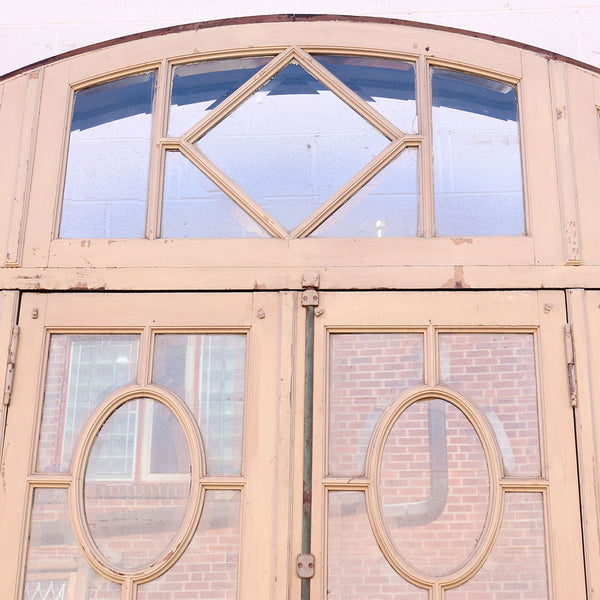 French Beaux Arts Walnut and Beveled Glass Double Door Entry, Arched Transom and Sidelights