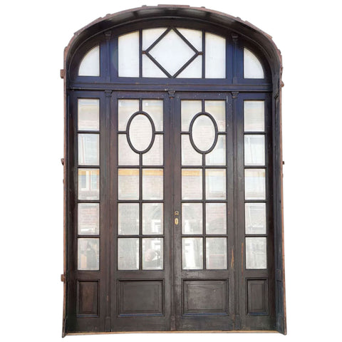 Argentine Beaux Arts Cedro and Beveled Glass Double Door Entry, Arched Transom and Sidelights