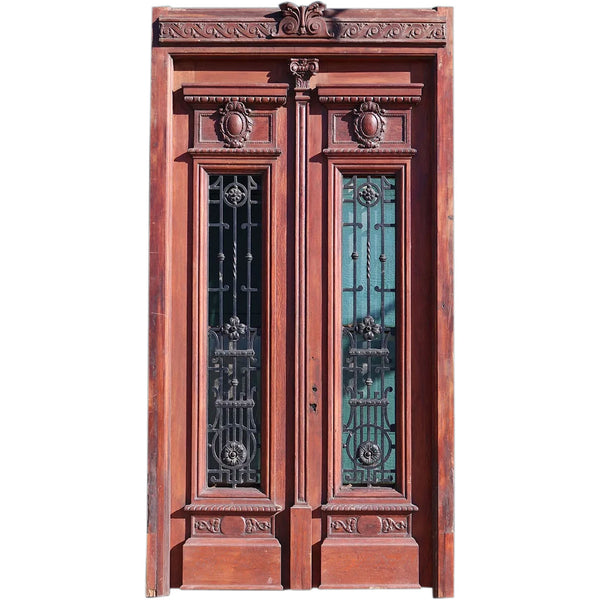 Grand French Napoleon III Oak and Wrought Iron Double Door Entry