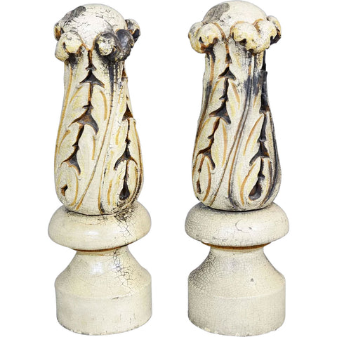 Pair American Glazed Terracotta Carved Architectural Finials