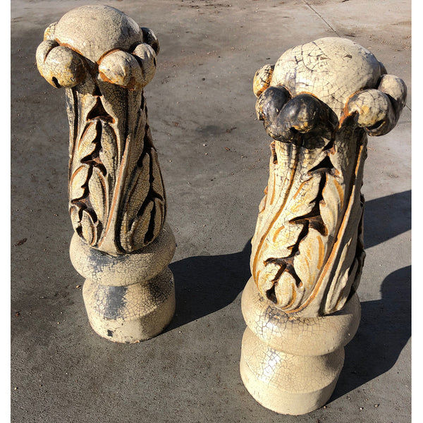 Pair American Glazed Terracotta Carved Finials